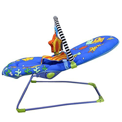 Ametoys Toddler Rocker 3 Grades Adjustable Baby Seat Portable Rocking Chair Infant Bouncer with Toy Bar Seaworld by Ametoys