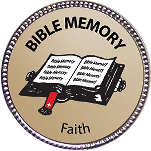 Faith Bible Memory Award 1 inch dia Silver Pin Bible Memory Achievements Collection by Keepsake Awards