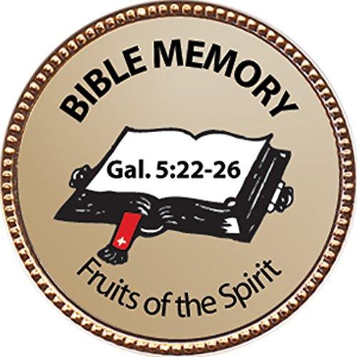Fruits of the Spirit Gal 522-26 Bible Memory Award 1 inch dia Gold Pin Bible Memory Achievements Collection by Keepsake Awards