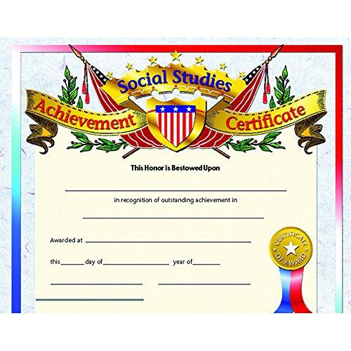 Social Studies Achievement Certificate Set of 30