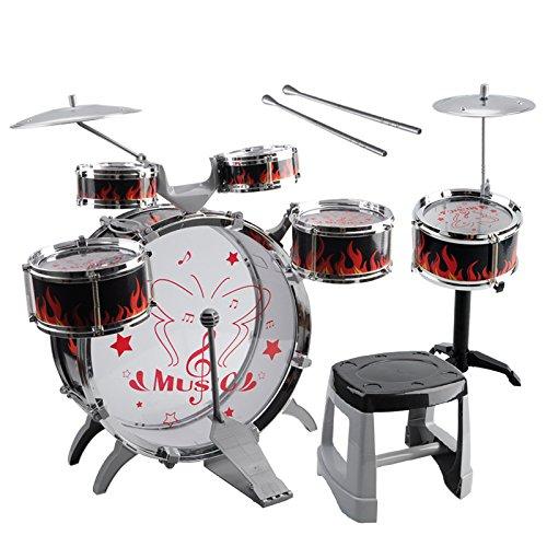 Kids Toy Drum Kit - SODIALR1 Set Kids Drum Kit Musical Band Playset Chair Cymbal Children Kids Toy Gift Black