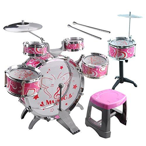 Kids Toy Drum Kit - TOOGOOR1 Set Kids Drum Kit Musical Band Playset Chair Cymbal Children Kids Toy Gift Pink