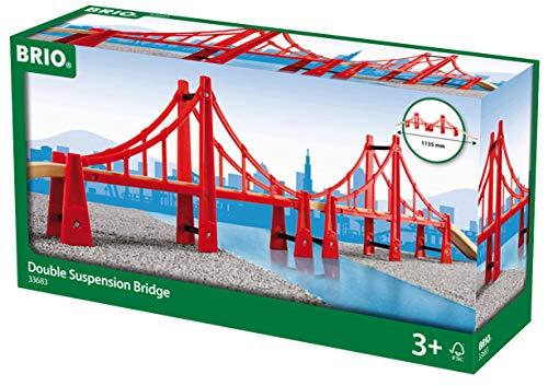 BRIO World - 33683 Double Suspension Bridge  5 Piece Toy Train Accessory for Kids Age 3 and Up