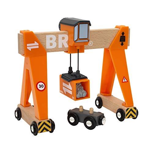 BRIO World - 33732 Gantry Crane  4 Piece Gantry Crane Toy for Kids Ages 3 and Up