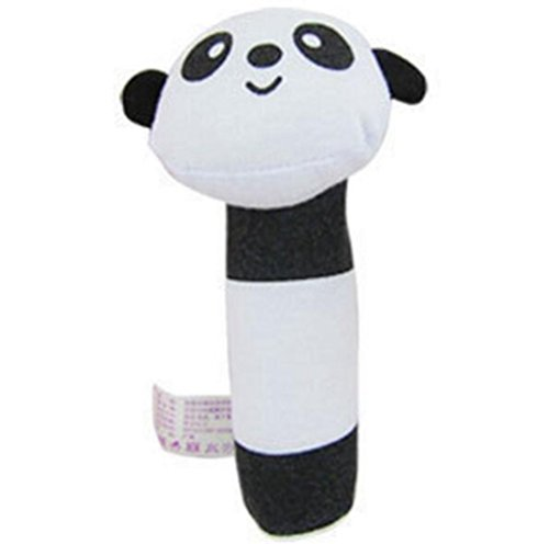 Animal Infant Baby Kids Wrist Rattle Foot Finder Set Developmental Soft Toys Baby Rattles Soft Animal Baby Hand Rattle Toys Early Development Toys Panda Style Color White and Black