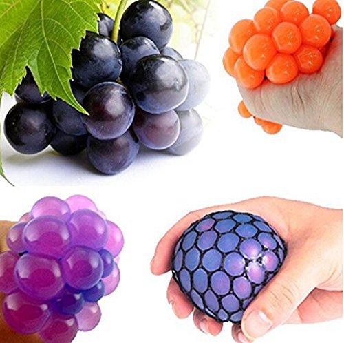 Fashionclubs 1pcs Mesh Squish Stress Relief Squeezing Rubber Vent Grape Ball Hand Wrist Toy Dia 5cm Random Color