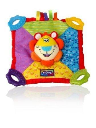 Nuby Teething Blankie Squeak Crinkle Teether Blanket Lion