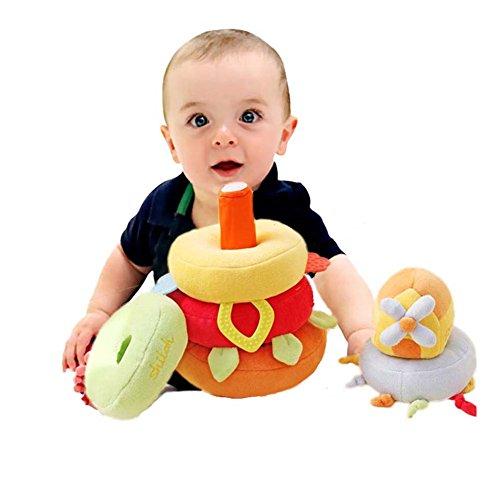 MBaby 6pcs Stacking Game Cotton Baby Pillow Plush Stuff Rattle Teething Toys