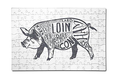 Lantern Press Pork - Butchers Block Meat Cuts - Blue Pig on White 12x18 Premium Acrylic Puzzle 130 Pieces