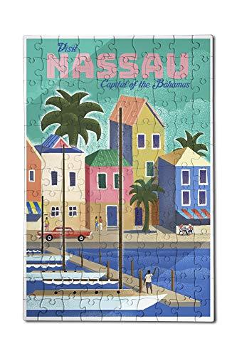 Nassau Bahamas - Waterside Dock - Lithograph 12x18 Premium Acrylic Puzzle 130 Pieces