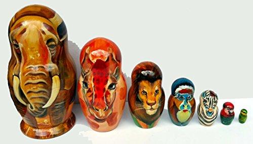 African Animals Collectible Wooden Nesting Dolls For Kids Handmade Baby Dolls Russian Toys Dolls Elephant Giraffe Lion Monkey Zebra Set 7pc