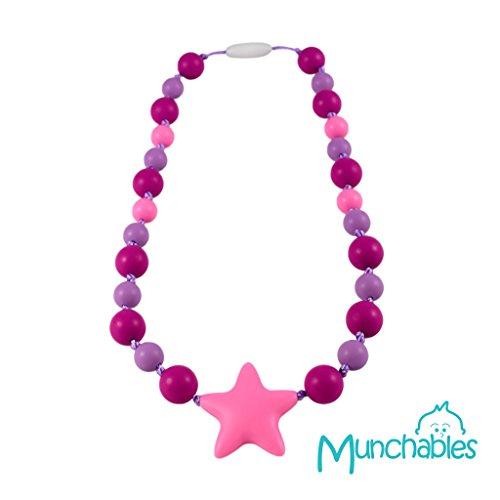 Munchables Chew Necklace - Girls Knotty Starlight Chewelry FuchsiaPinkPurple