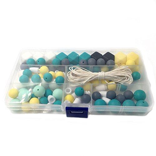 Amyster Silicone Wooden Teething Beads Nursing Necklace DIY Silicone Teething Kit Geometric Hexagon Silicone Wood Beads Teething Necklace Baby Teether Toys
