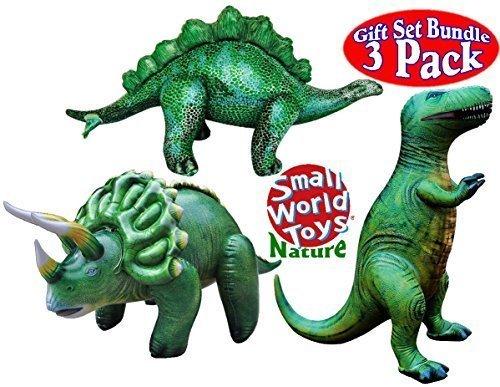 Small World Nature Inflatable Jumbo Dinosaurs T-Rex Stegosaurus Triceratops Gift Set Bundle - 3 Pack