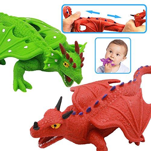 ValeforToy Dragon Toys8 Inch Rubber Dinosaur Dragon Toys SetFood Grade Material TPR Super Stretchy Realistic Dragon FigureRed&Green Teething Bathtub Party Favors Learning Boy Kid Squishy Toys