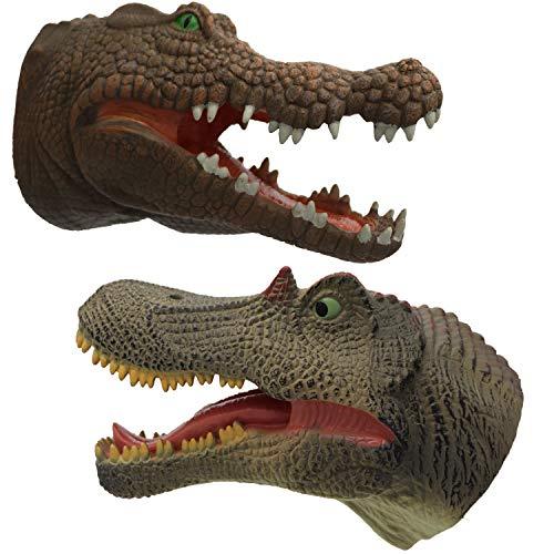 ifkoo Dinosaur Hand Puppet Soft Realistic Rubber Green Spinosaurus Crocodile Hand Puppet Role Toy Kids Dinosaur and Crocodile Set