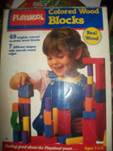 1988 Playskool Colored Building Blocks 49 pcs
