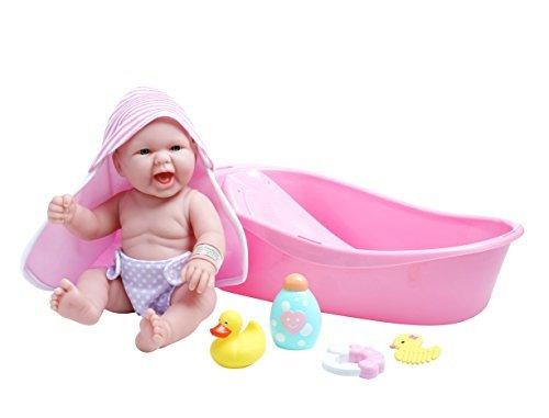 JC Toys La Realistic Baby Doll Bathtub Gift Set Featuring13 All Vinyl Newborn Doll 8 Piece by JC Toys