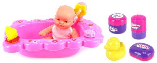Velocity Toys Mommy Baby Bathtub Time Toy Baby Doll Playset w Baby Doll Bathtub Bath Accessories by Velocity Toys