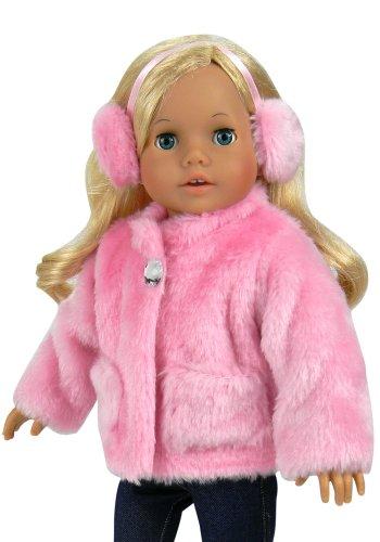18 Inch Doll Clothes Pink Fur Coat EarmuffHeadband fits 18 Inch American Girl Dolls More Jeweled Fur Coat in Pink HeadbandEarmuffs