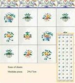 Dollhouse Tile Flower Delft 4pk 124
