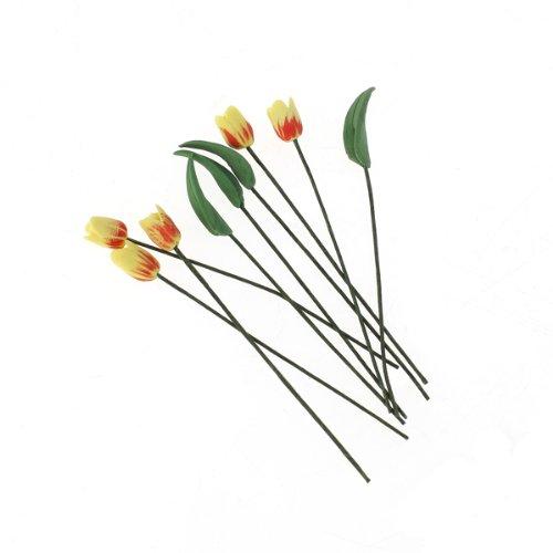 5pcs Artificial Yellow Tulip Flowers  4pcs leaves 112 Dollhouse Decoration