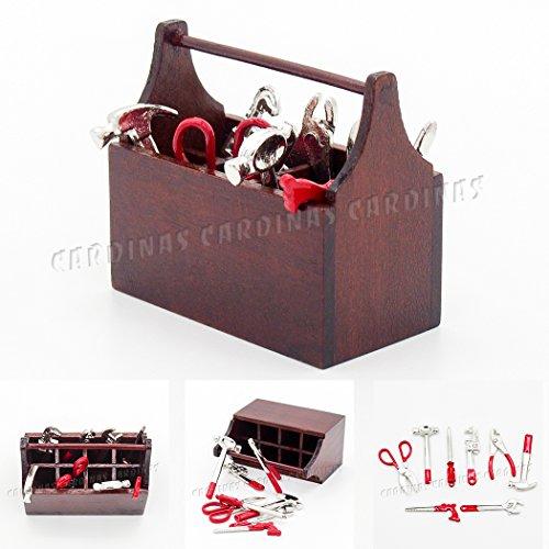 Odoria 112 Miniature Tool Box with 8PCS Metal Tools Set Dollhouse Decoration Accessories