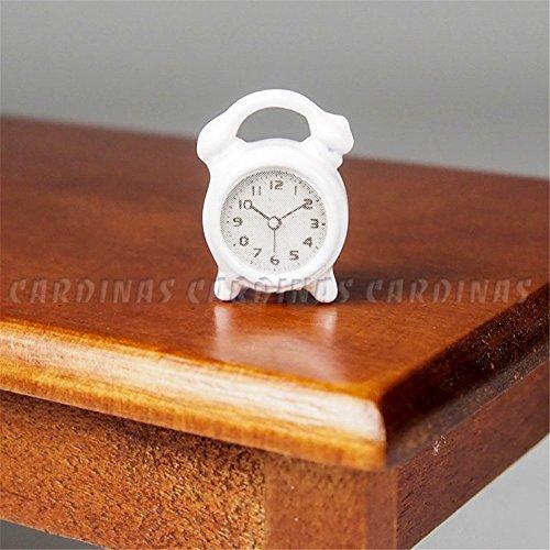 Odoria 112 Miniature White Table Alarm Clock Dollhouse Decoration Accessories