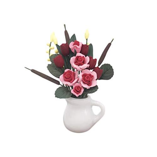 SUPVOX Dollhouse Plant Miniature Flower Rose Model Garden Decors Small Succulent Accessories Supplies