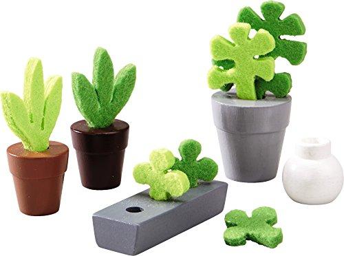 HABA Little Friends Flowers Plants - 5 Piece Dollhouse Accessory Set for 4 Bendy Dolls