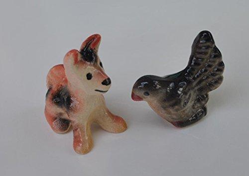 Cute Dollhouse Miniature Figurine Ceramic Dog Pigeon Pack of 2 Animal Display Child Learning Tool
