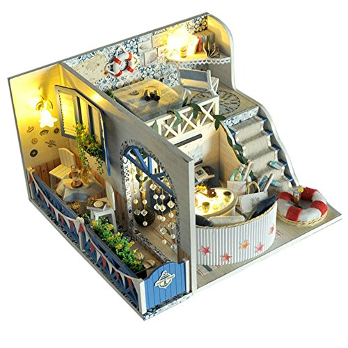 Remeehi Dollhouse Miniature DIY Doll House Kit with Cover Creative Living Room Artwork Gift B
