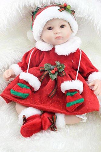 SanyDoll Reborn Baby Doll Soft Silicone vinyl 18 inch 45 cm Lovely Lifelike Cute Baby Boy Girl Toy A beautiful red dress doll
