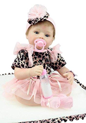 SanyDoll Reborn Baby Doll Soft Silicone vinyl 22inch 55cm Lovely Lifelike Cute Baby Boy Girl Toy Leopard Fashion Doll Pink Skirt