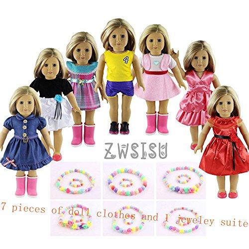 ZWSISU Children gift 7 Outfits American Girl Doll Clothes 1 jewelry suite Fits American Girl Doll Our Generation Journey Girls Dolls