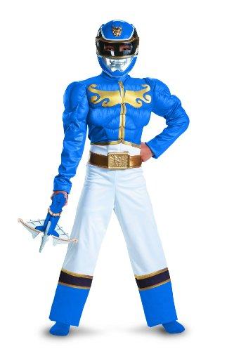 Disguise Power Ranger Megaforce Blue Ranger Boys Muscle Costume 10-12