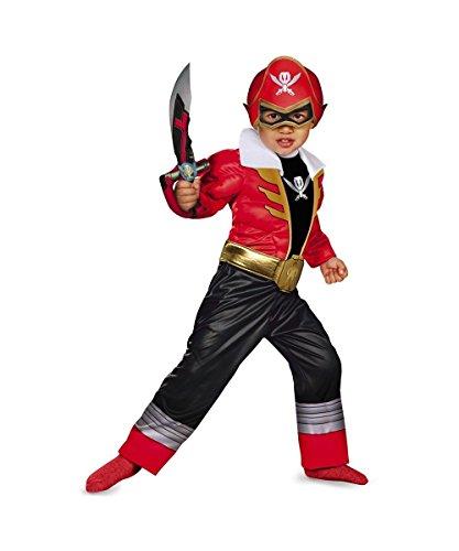 Red Ranger Super Megaforce Toddler Boys Muscle Costume Toddler 3t-4t