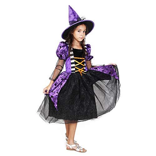 Girls Witch Costume Glamour Queen Kids Halloween Dress Deluxe Set -Queen4-6 Year