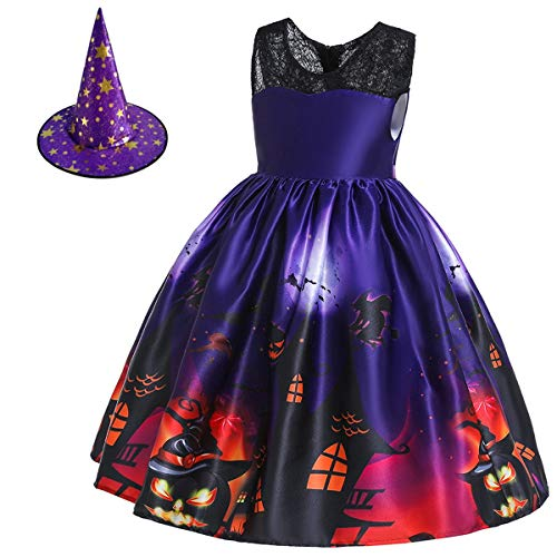 IZKIZF Kids Girls Halloween Party Costume Witch Ghost Pumpkin Skull Cosplay Fancy Dress Up Outfits with Witch Hat 6-7T