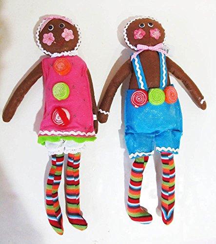 Christmas Cloth Gingerbread Boy And Girl Doll Set