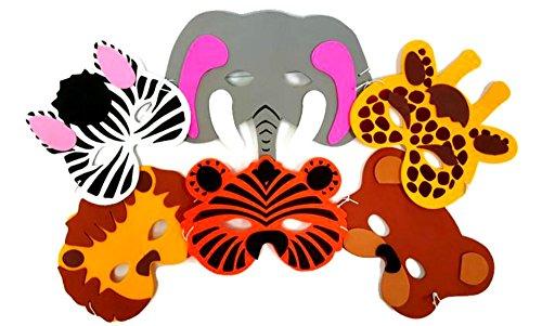 Playscene 1 Dozen Foam Zoo Animal Masks Party Favors for Children Zoo Animals
