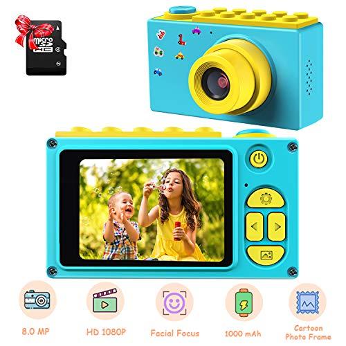 ShinePick Kids Digital Camera Mini 2 Inch Screen Childrens Camera 8MP HD Digital Camera with Micro SD Card Blue