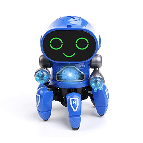 Micnaron Electric Dancing Robot Walking Musical Baby Toys with Colorful Flashing Light Singing for Children Kids Boys&Girls Blue