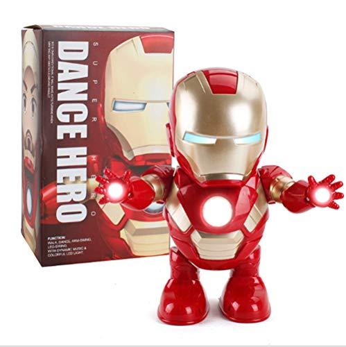 YBDKJ Dancing Iron Man Dance Hero Rescue Toys Dancing Robot with Light Music Dancing for Boy Girls Kids Children Gift Iron Man