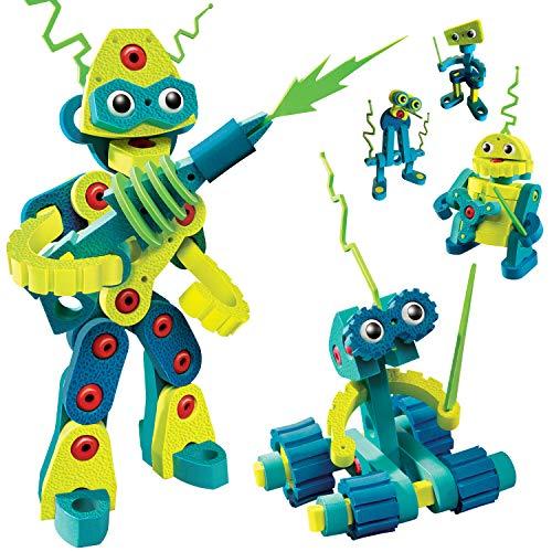 Bloco Toys Robot Invasion  STEM Toy  5 DIY Robots  Modular Building Construction Set 225 Pieces