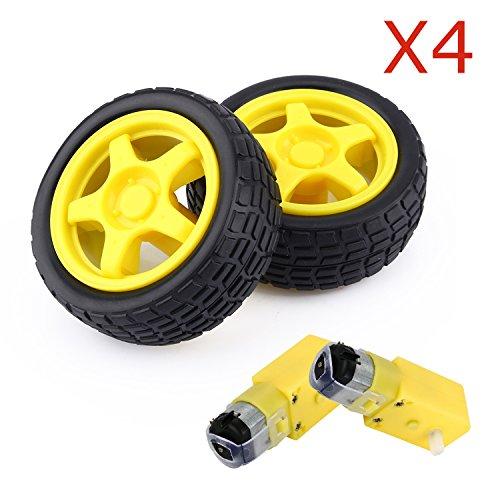 ZJchao 4 Pcs Arduino Plastic Tire Wheel with DC 3V 5V 6v Gear Motor for DIY Robot Smart Car Robot