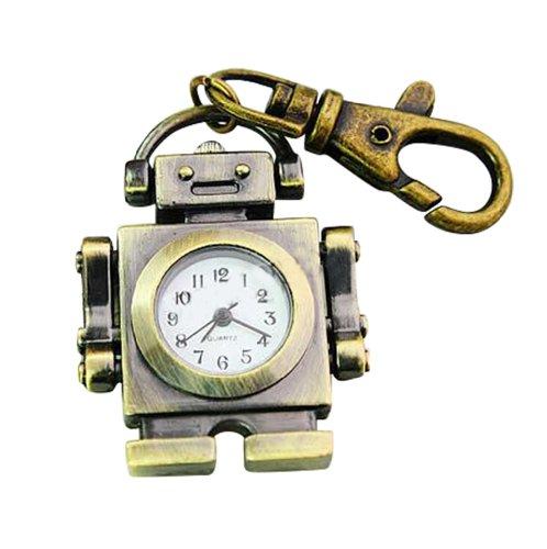 Bronze Classic Sci-Fi Robot Design Clip Keychain Watch