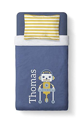Personalized Boys Duvet Cover Set - Twin - Little Robot Design