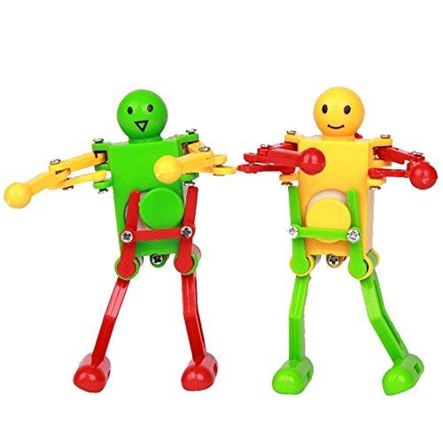 EITC Colorful Clockwork Spring Wind-up Dancer Dancing Walking Robot Toy for Baby Kid ChildrenPack of 2