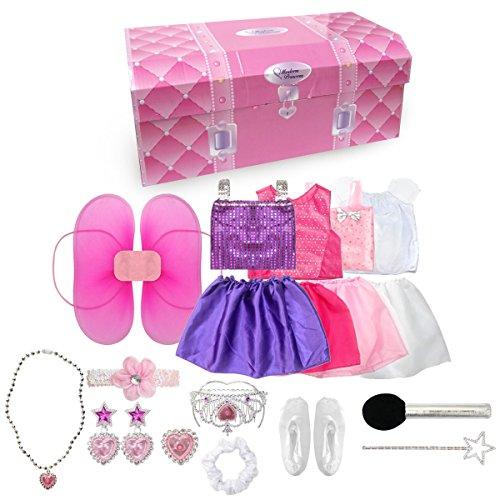 fedio 20PCS Girls Role Play Dress up Trunk Pretend Play Costume Set For Kids Ballerina Princess Elf Pop star